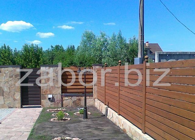 Деревянный забор горизонтальный купить заказать киев ...