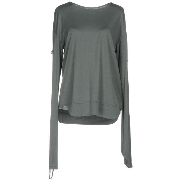 Isabel Marant T-shirt (14,390 INR) ❤ liked on Polyvore featuring tops, t-shirts, green, jersey t shirt, green top, cotton jersey, green tee and long sleeve t shirts