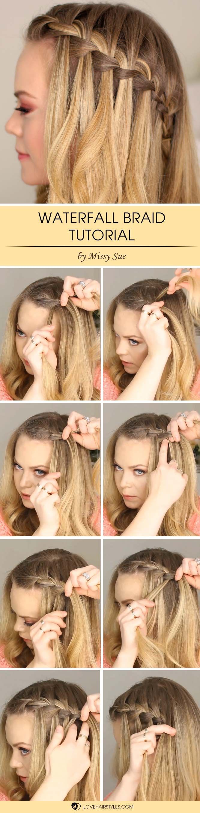 How to do a waterfall braid step by step see more
