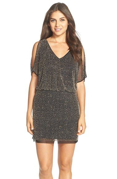 93534019825 Xscape Beaded Cold Shoulder Blouson Dress available at  Nordstrom ...