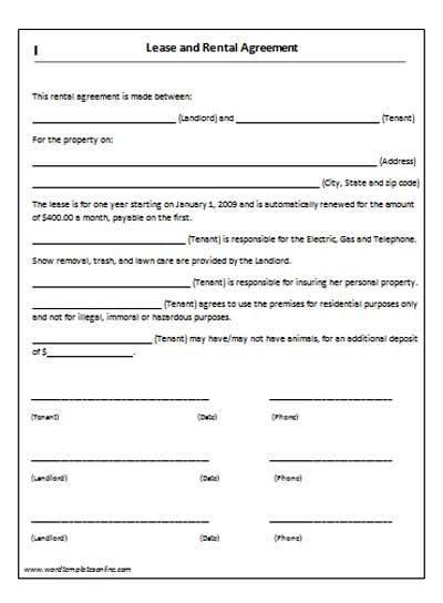 Auto Rental And Lease Form Printable Sample Rental Lease Agreement  Templates Free Form  Free Property Lease Agreement