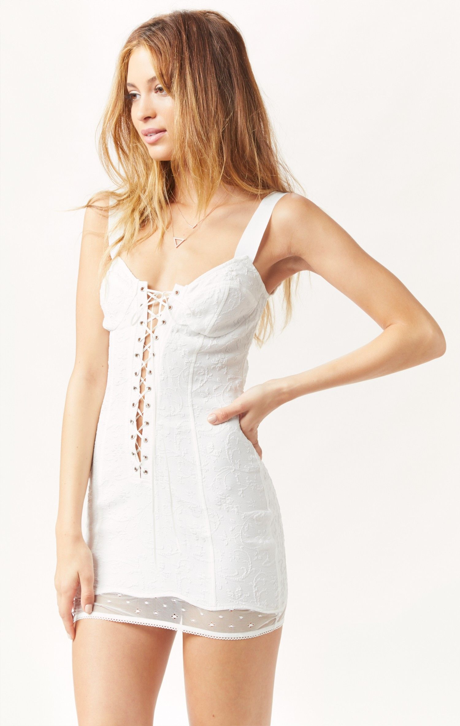 b8f1b86c3c1cc she's a knockout plunging slip dress by FOR LOVE AND LEMONS SKIVVIES  #planetblue