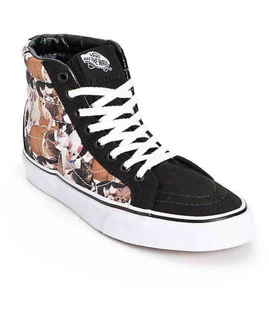 271482f0e8 Take a stand against animal cruelty with the style of these Vans x ASPCA  collaboration high top shoes that feature a cat print canvas upper and  sleek ...