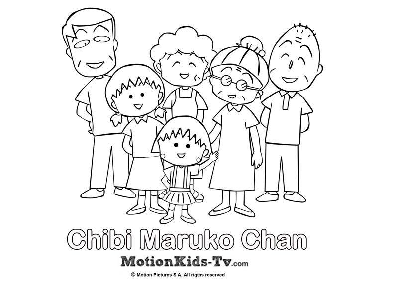 Dibujito De La Familia De Maruko, Dibujos Para Colorear