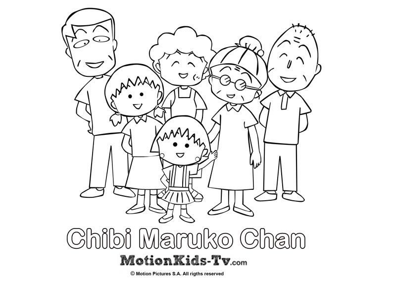 Dibujito de la familia de Maruko Dibujos para colorear pintar
