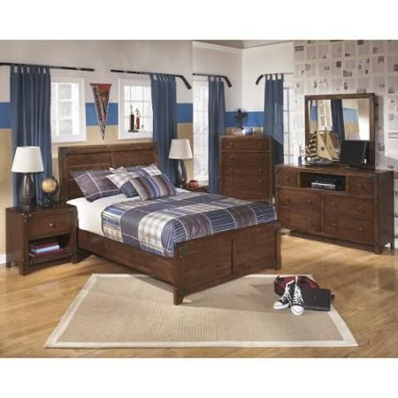 Signature Design by Ashley Delburne Rich Brown Wood Panel Bed