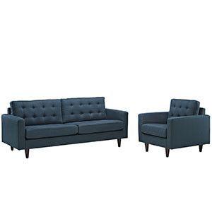 Empress Armchair and Sofa Set of 2 Azure