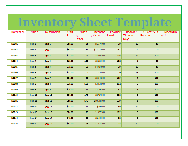 Inventory Sheet Template  Templates    Template