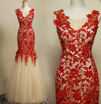 Appliques Charming Mermaid Prom Dresses,Long Evening Dresses,Prom Dresses On Sale, T198