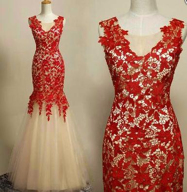 Appliques Charming Mermaid Prom Dresses,Long Evening Dresses,Prom Dresses On Sale, T198