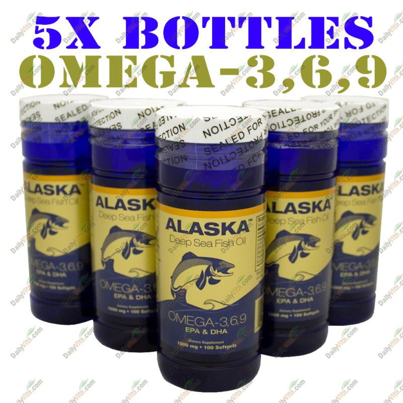 Details About 5 X100 Alaska Fish Oil Omega 3 6 9 Dha Epa Flaxseed