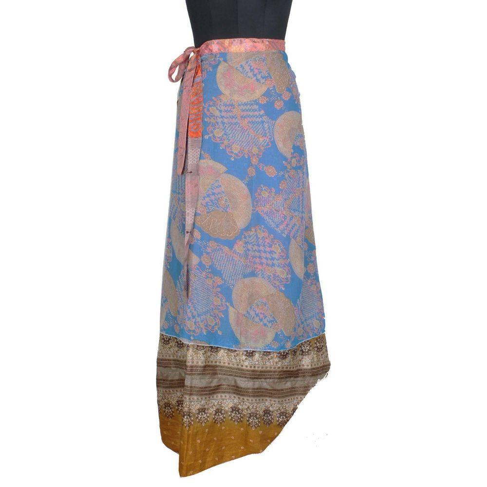 Bohemian Silk Sari Skirt Magic Wrap Skirt Indian Vintage