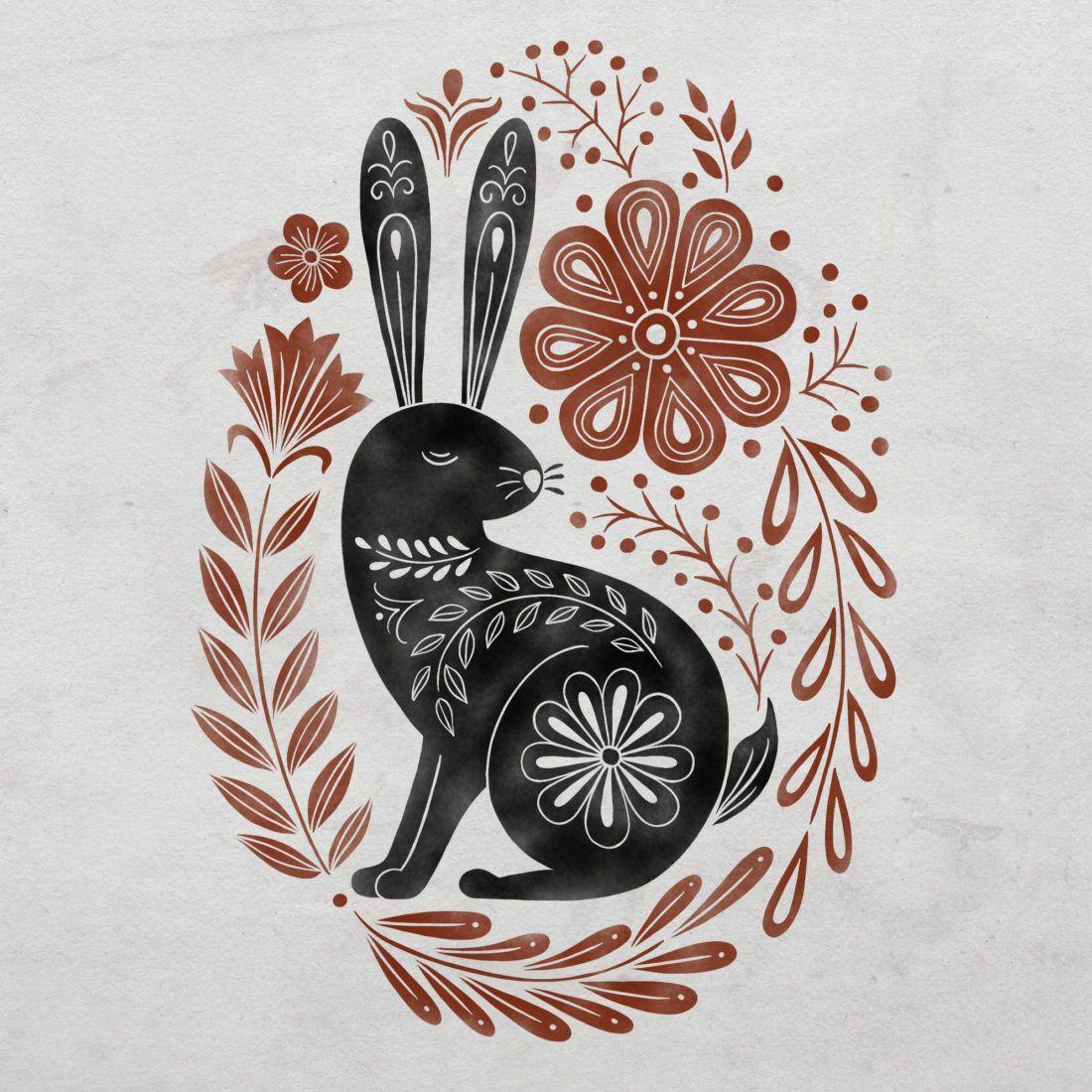 Folk Rabbit 1 | Displate thumbnail