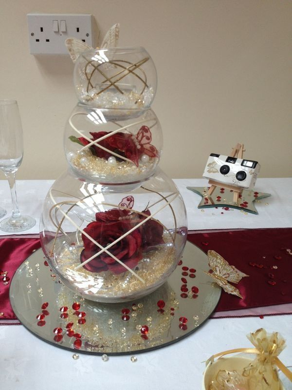 Triple Stack Fish Bowls In Burgundy And Gold Wedding