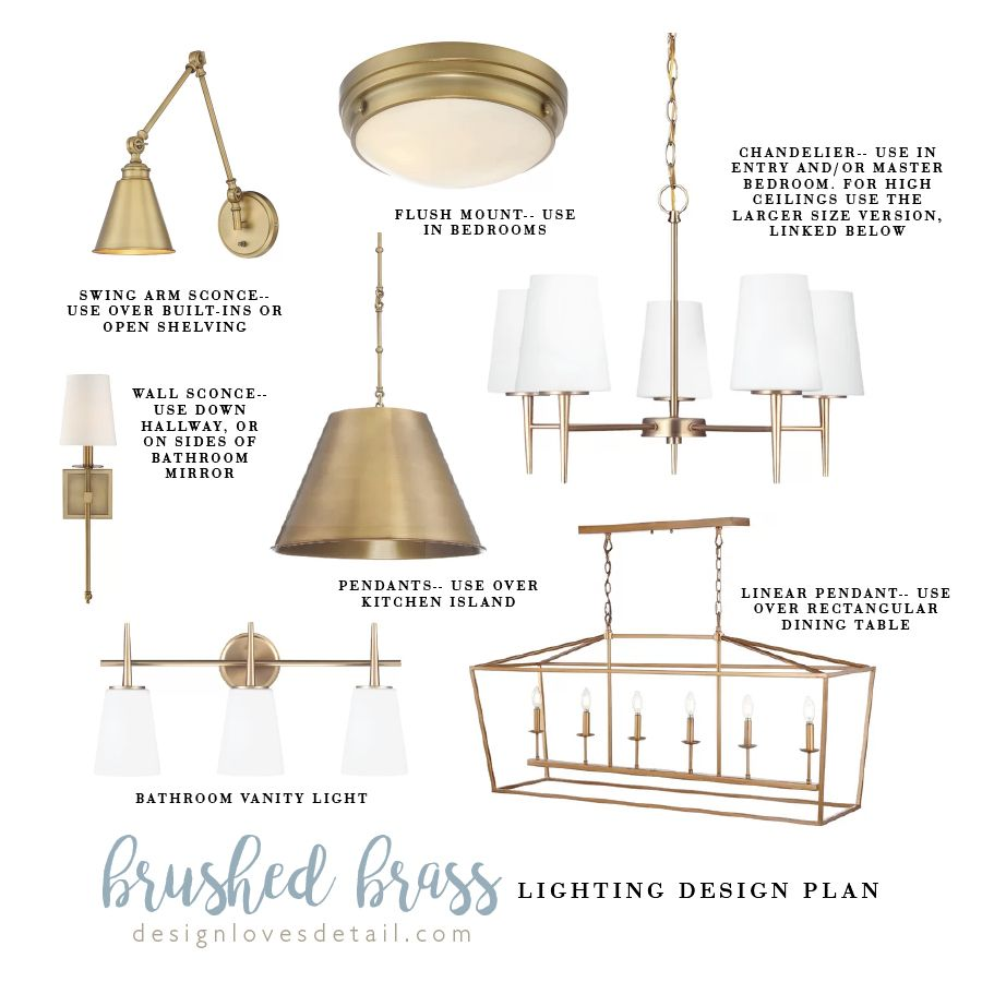Affordable Lighting Design Plan: Brushed Brass
