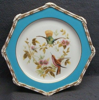 19th Century Crown Derby plate with Exotic Bird  bamboo trim Ca 1878