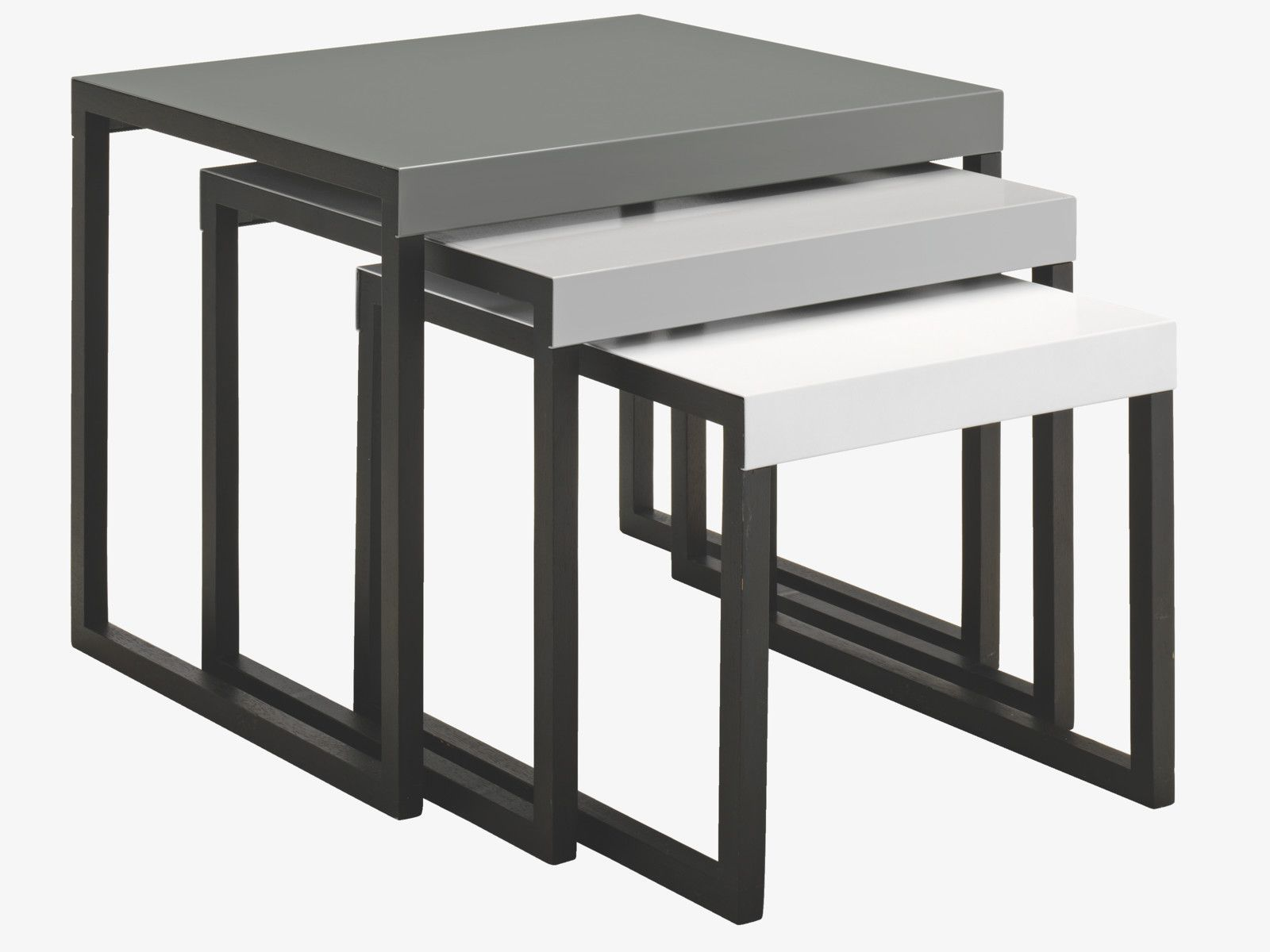 Habitat Bijzettafel Kilo.Kilo Greys Metal Multi Coloured Metal Nest Of 3 Side Tables