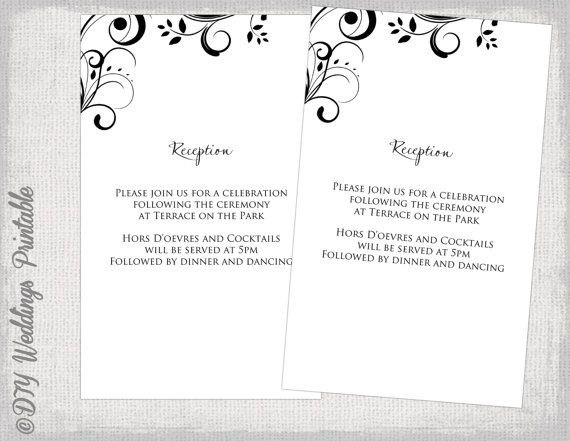 Reception Invitation Template Black And White Diy Enclosure Card