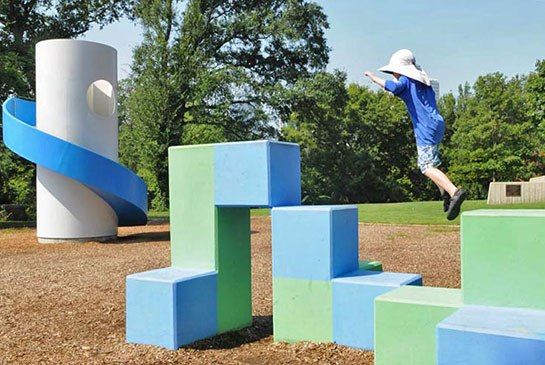 Isamu Noguchi's Architectural Playground in Atlanta has fresh new paint, more signs and a clean look!