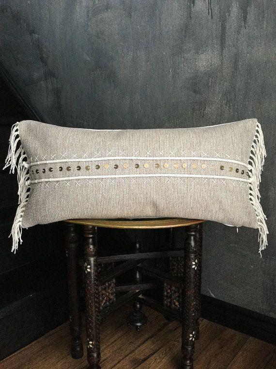 Grey Beaded Fringe Pillow Eclectic Industrial | Boho Pillow | Tribal | Handira | Berber | Fringe Pillow | Tassel Pillow