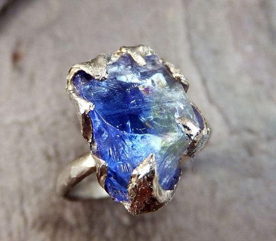Raw Tanzanite Crystal White Gold Ring Rough Uncut Gemstone