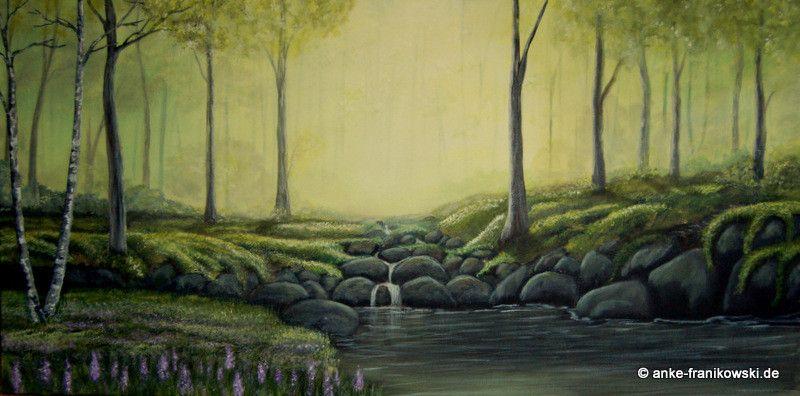 Lost Forest Landschaftsbild in Acryl, Größe 100 x 50 x 3,8cm, Jahr ...