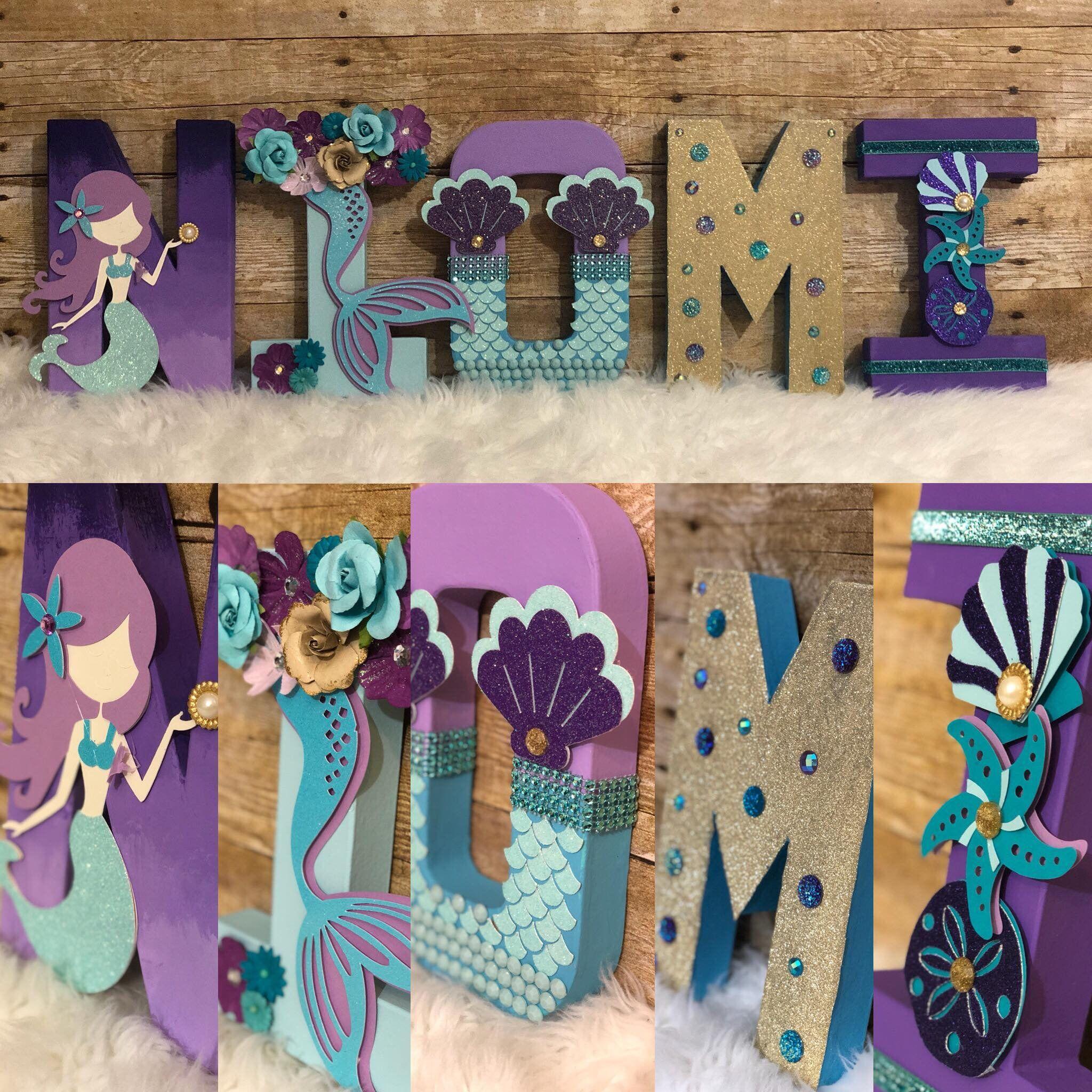 Mermaid Name Mermaid Letters Mermaid Decor Mermaid