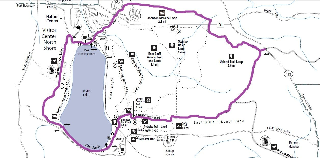 Hiking Map Devils Lake Wisconsin Pinterest Hiking Map And