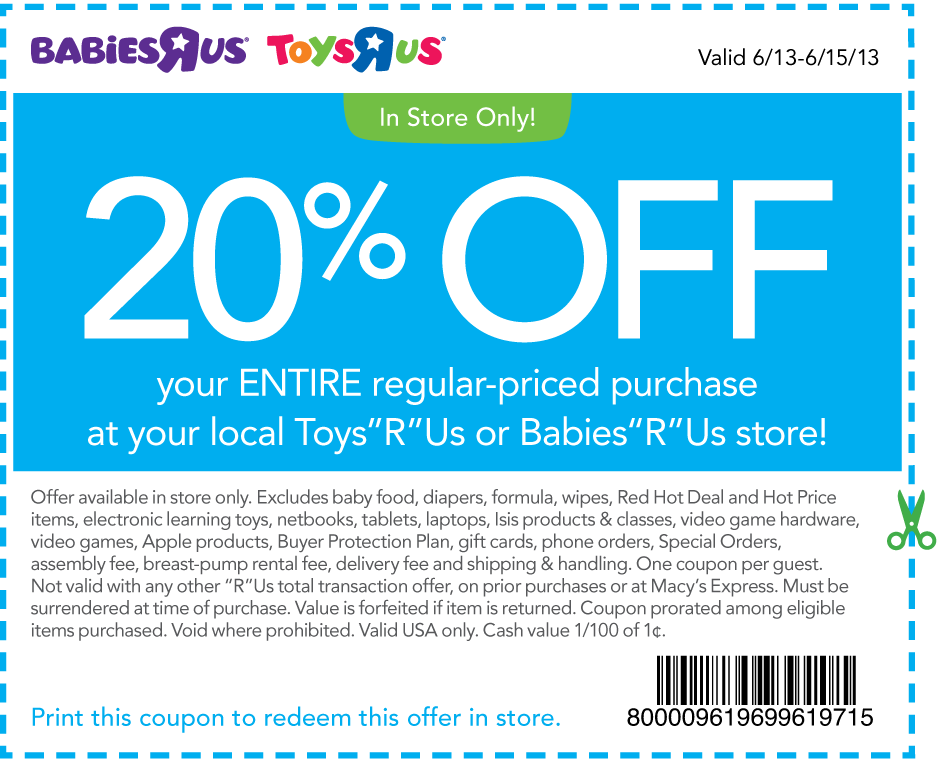 graphic about Printable Toys R Us Coupons known as Pinned June 13th: 20% off almost everything at Toys R Us Infants R