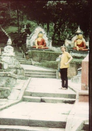 Steps up to Monkey Temple  Kathmandu Nepal 1969. The monkeys did bite