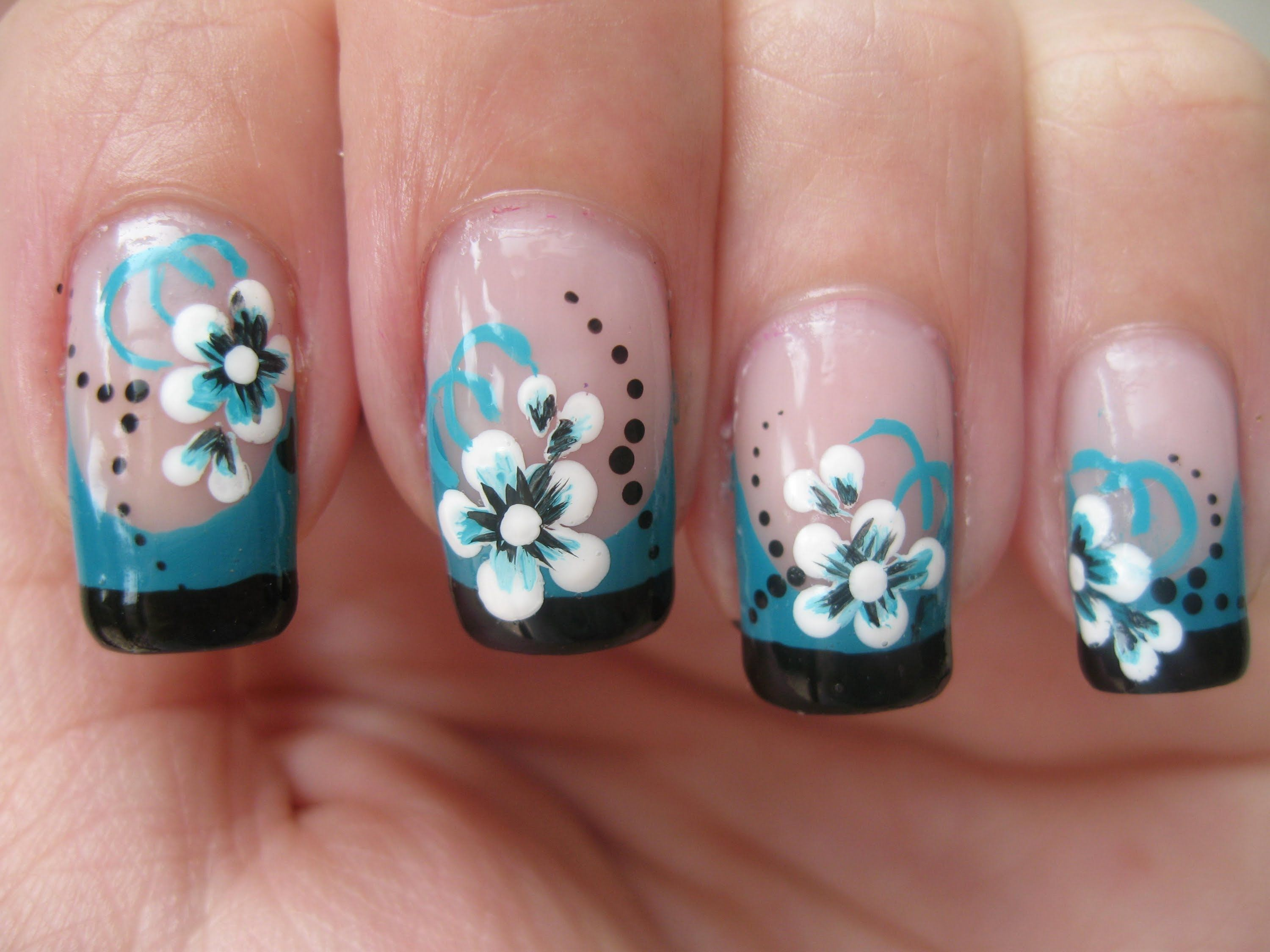 Nail art: Double colored french tip with flower | Just Nails ...