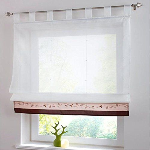 Beaded Curtain Cheesecloth Roman Blind With Loops Sching Curtains Coffee Brown 100x155cm
