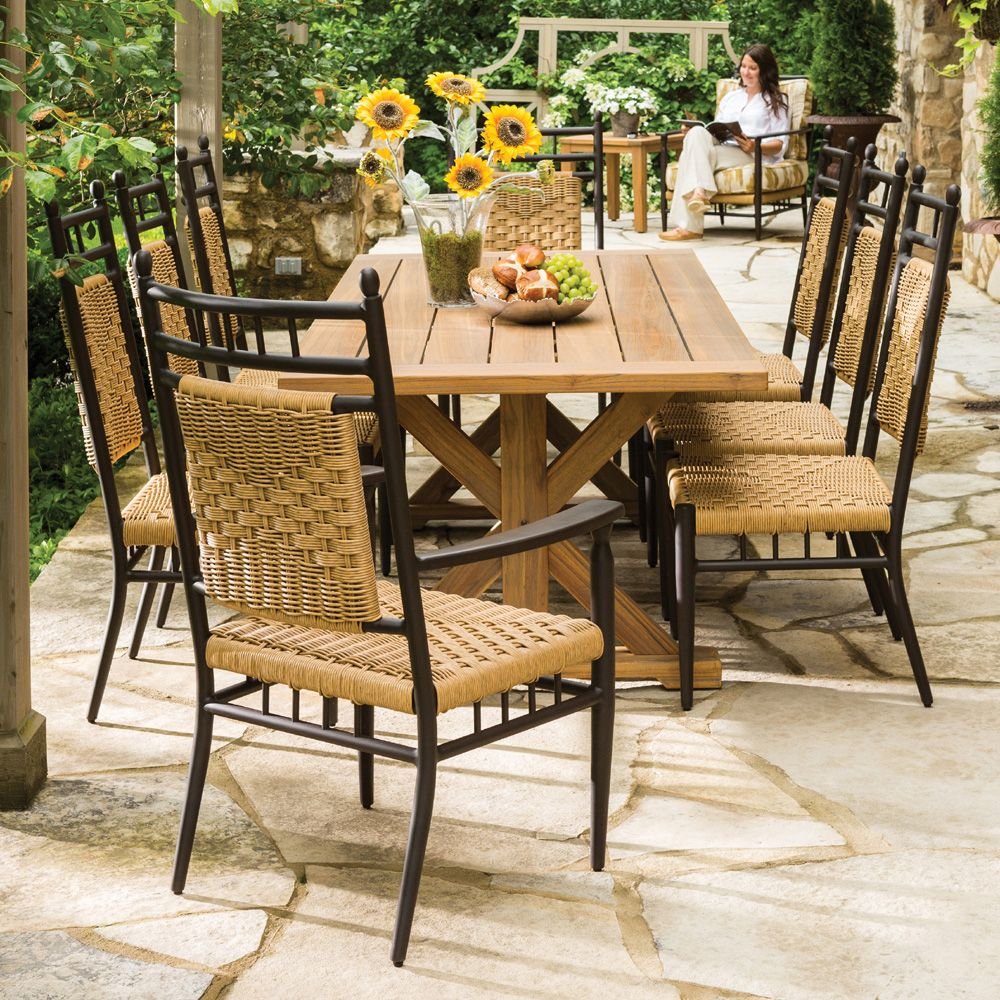 Traditional Country Farmhouse Large Patio Dining Set With 8 Chairs And  Natural Teak Table. The