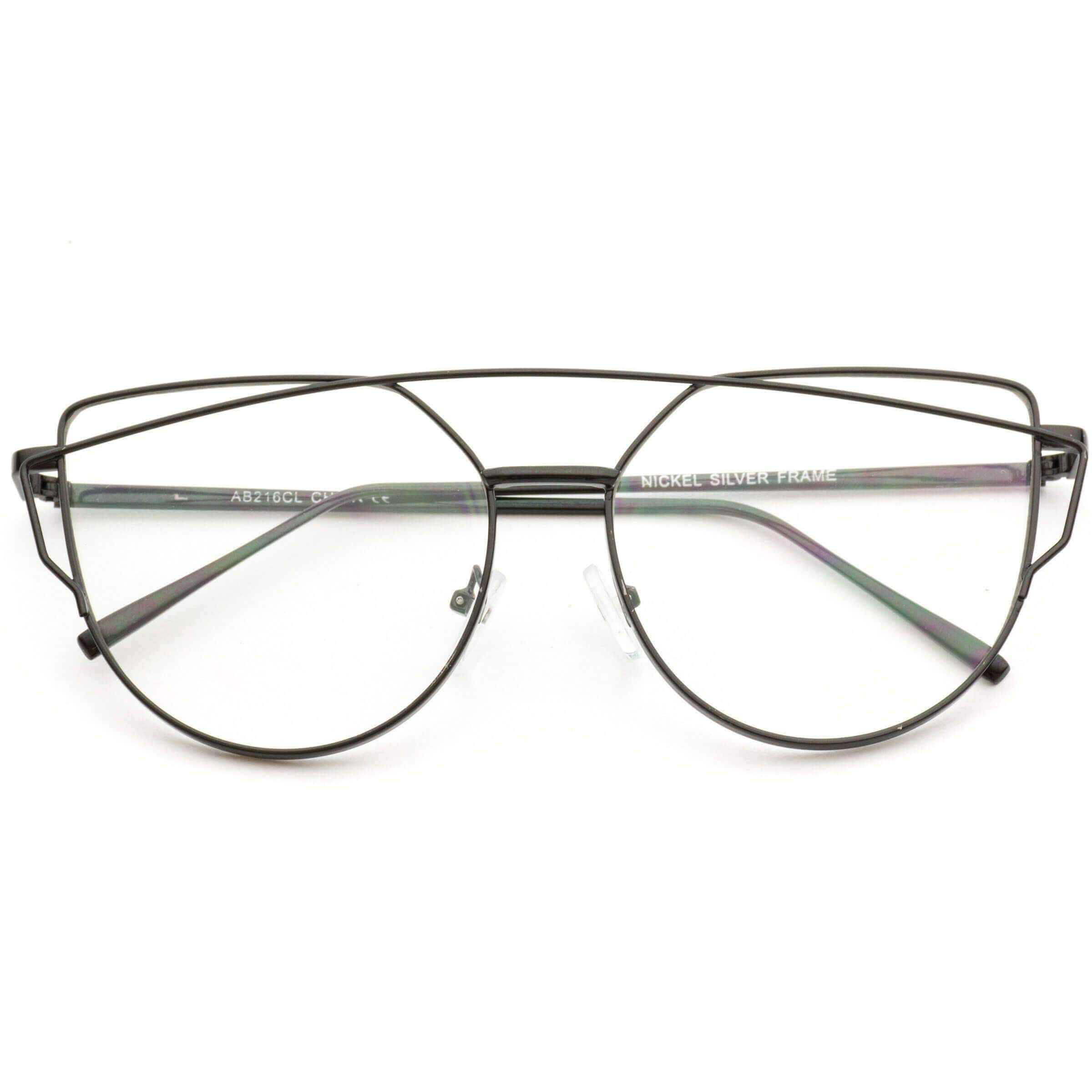 63bb214d792 Charlette Double Wire Metal Frame Cat Eye Glasses