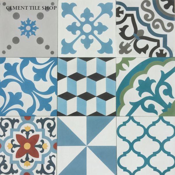 Best Cement Tile Shop Encaustic Cement Tile Patchwork Blue 640 x 480