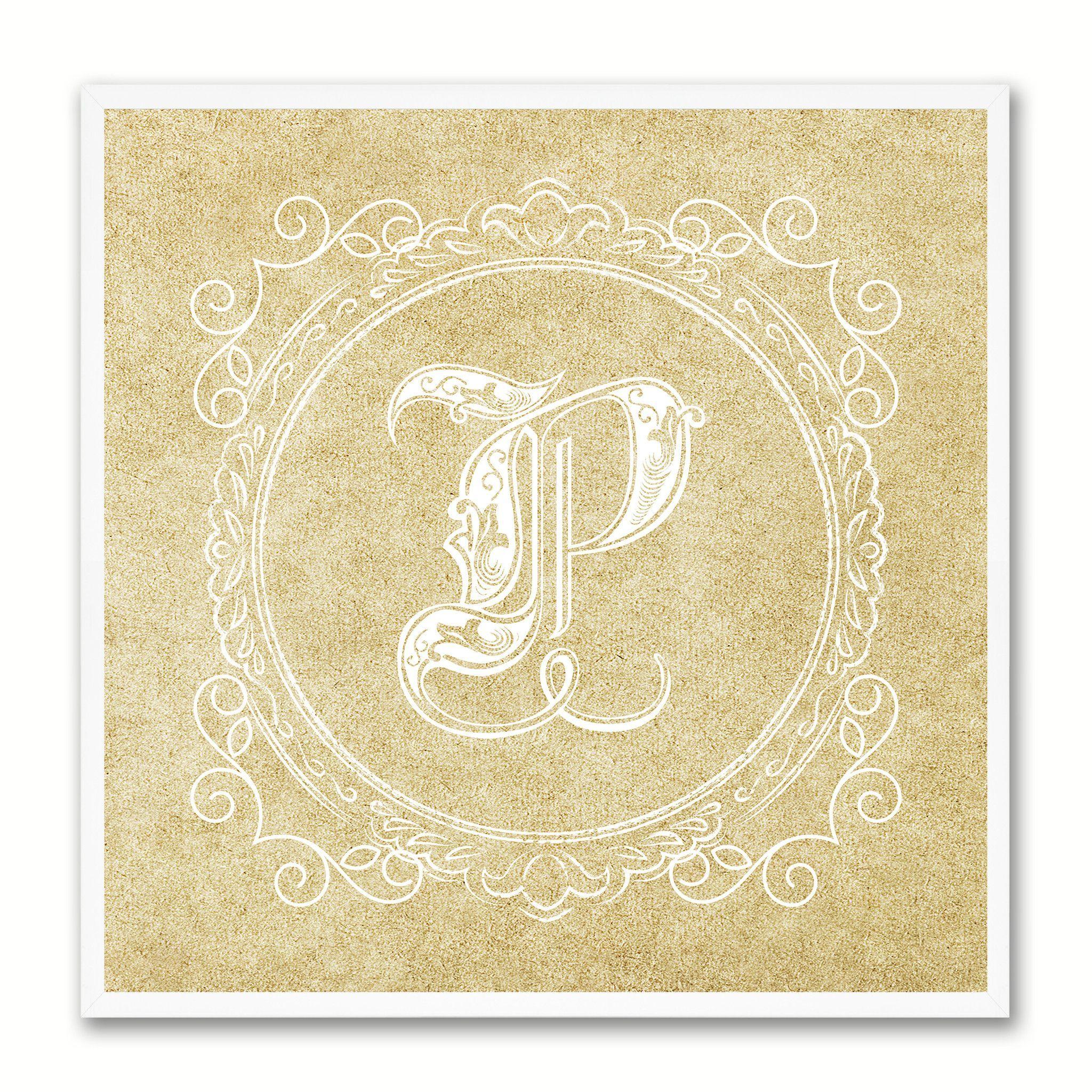 Alphabet Letter P Brown Canvas Print Black Frame Kids Bedroom Wall ...