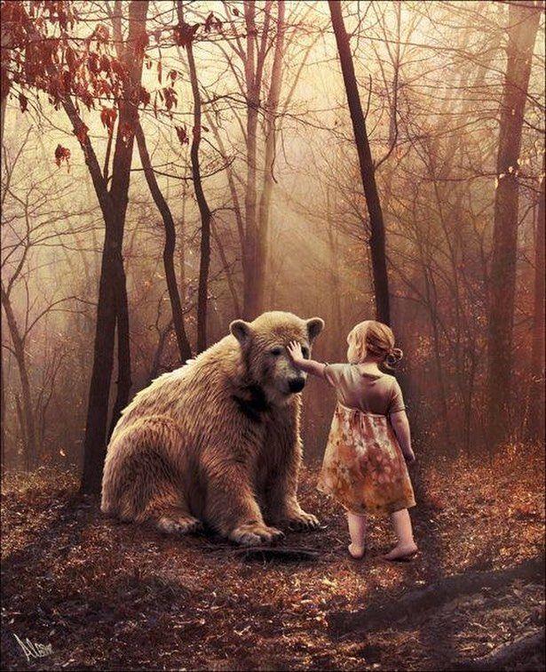 Девочка и медведь картинки