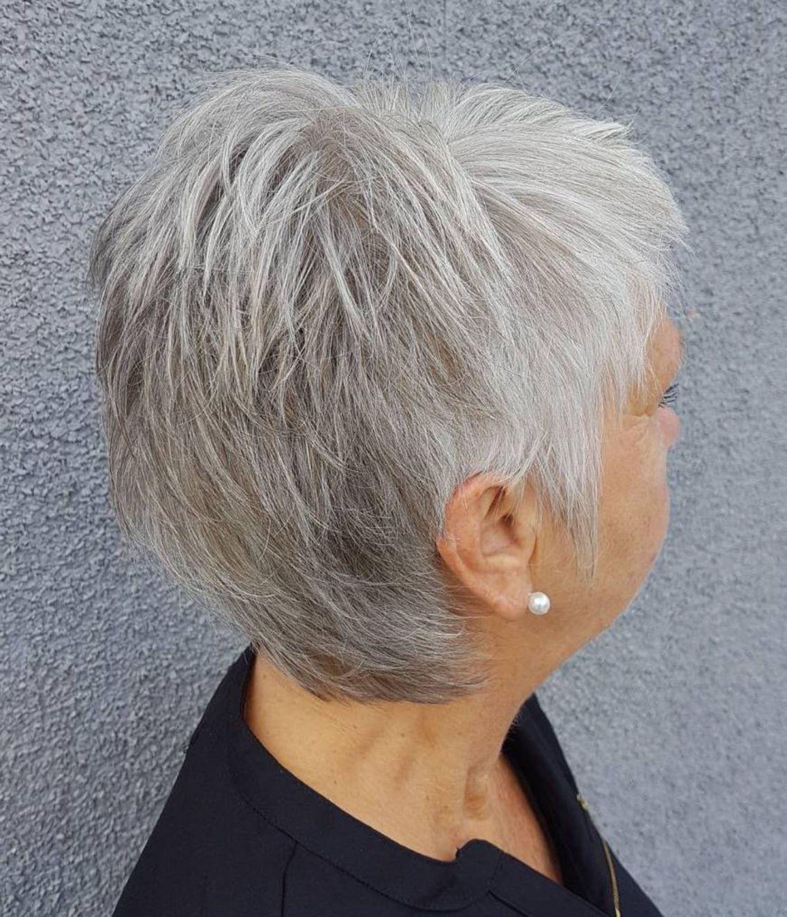 Choppy salt and pepper pixie short hairstyles for women