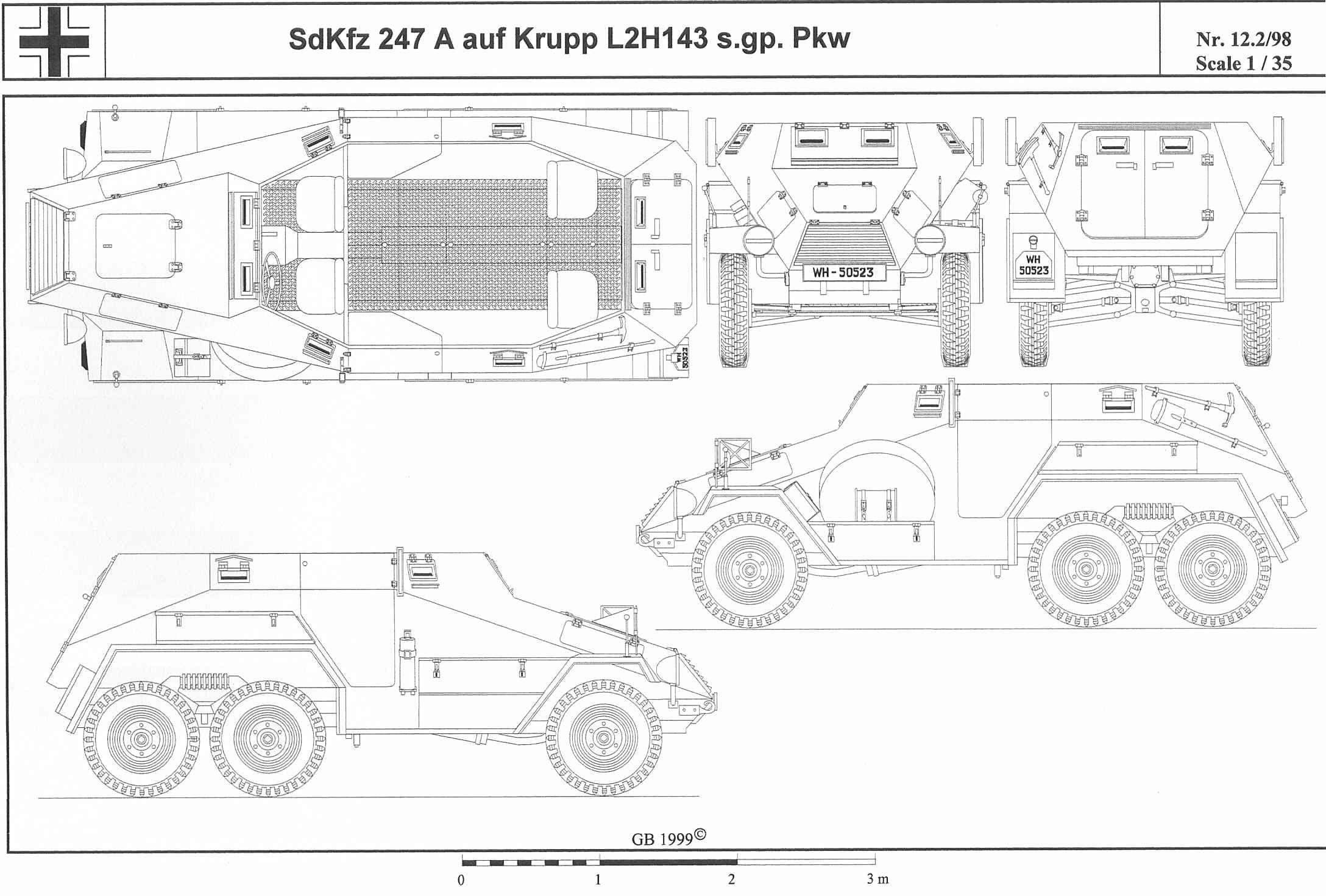 Sd.Kfz. 247 Ausf. A - transporte blindado de personal, versión de seis ruedas, sólo se construyeron 20 en 1937; la producción fue de Daimler-Benz, que construyó el Ausf. B versión de cuatro ruedas en 1941 y 1942. A veces anti-tanque (36 mm Pak 36) y anti-aire (2 cm Flak), las armas se montaban directamente en la caja de la camioneta.