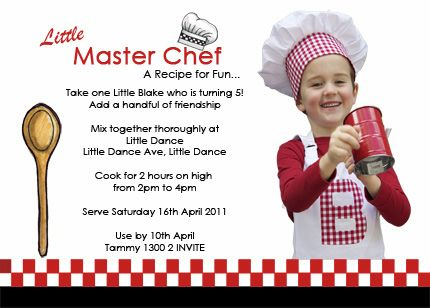 ON THE BLOG Little Master Chef Party by Little Dance – Cooking Birthday Party Invitations