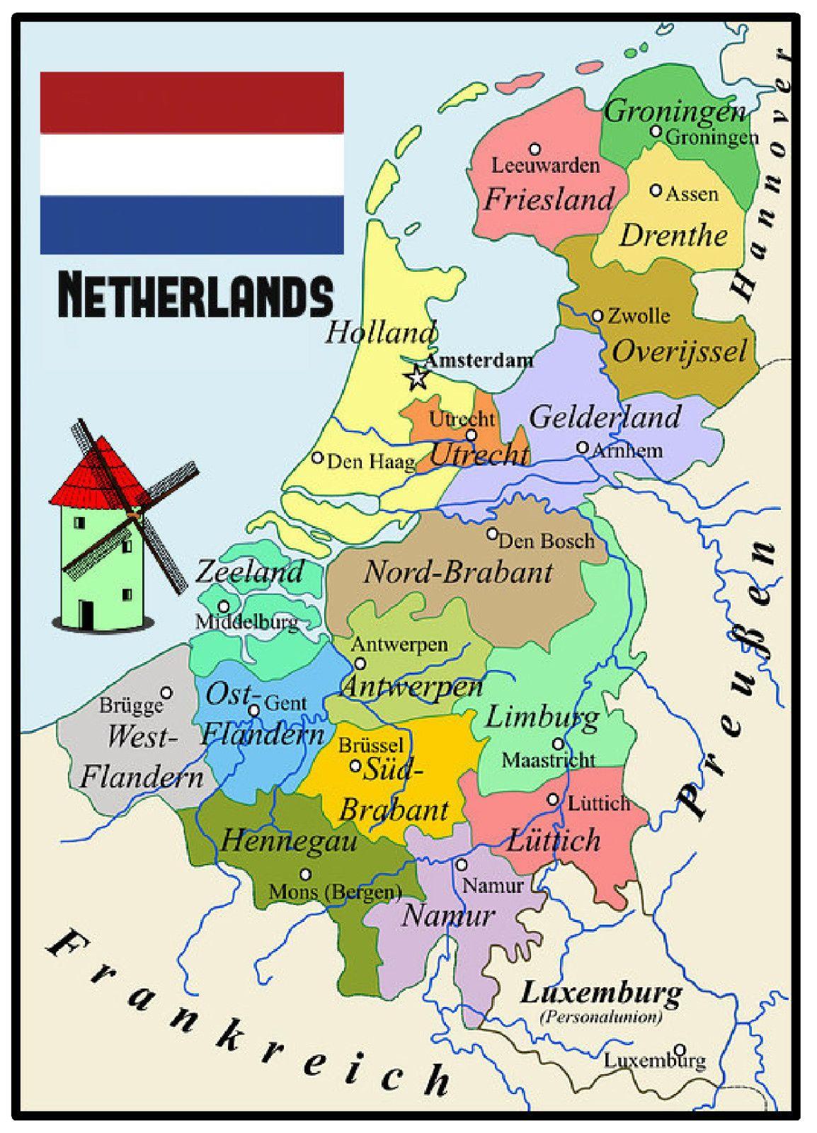 Neatherlands Map Souvenir Novelty Fridge Magnet Sights Gifts