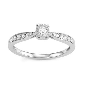 Fine Jewelry Womens 1/4 CT. T.W. Round White Diamond Sterling Silver Gold Over Silver Promise Ring jNHUm7AwgM