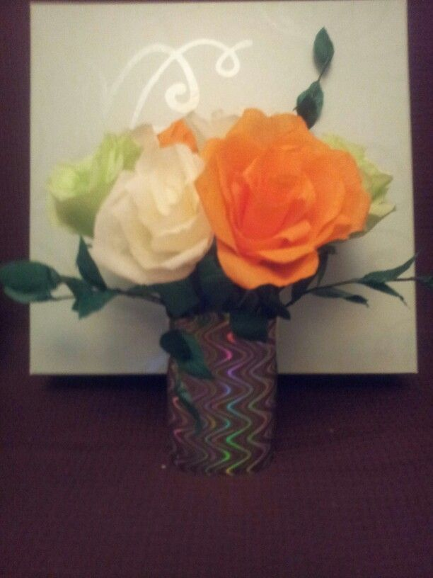 Crepe Paper Flowers With Tissue Paper Leaves Vase Made From