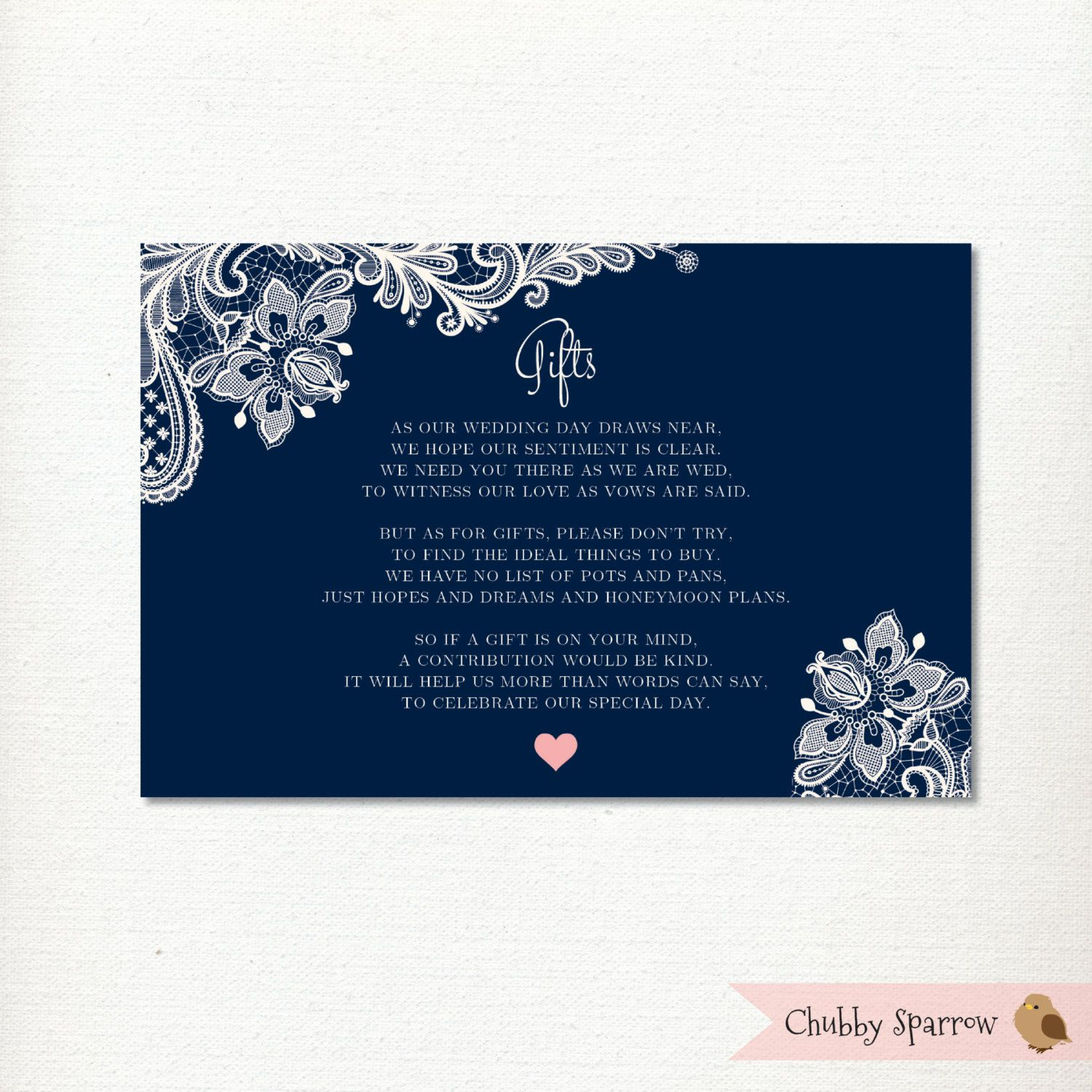 Wedding Gifts List Card Information Honeymoon Fund Lace