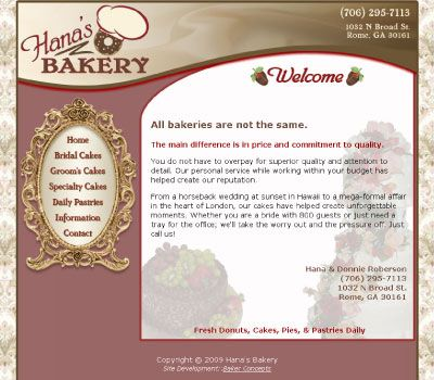 Hana S Bakery Web Design By Kimbec Creative Web Design Social Security Card Budgeting