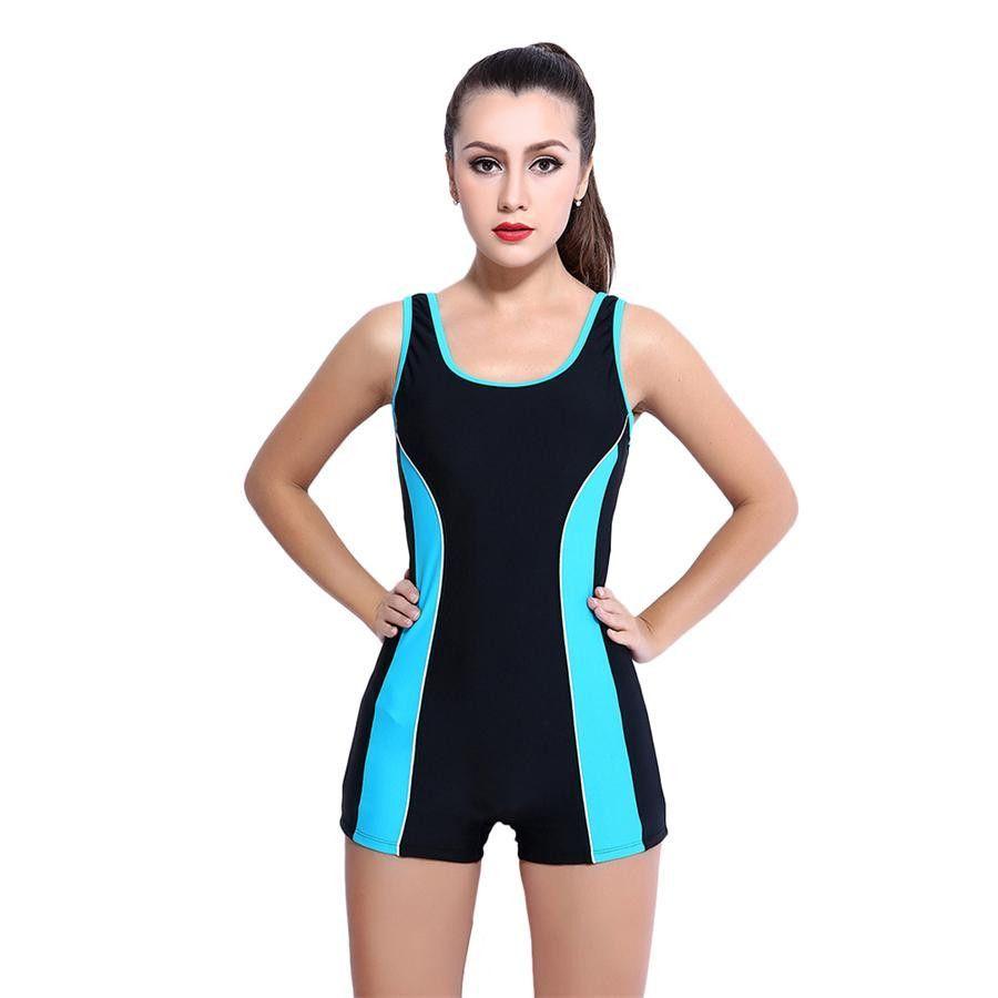 9aba0037e84 HAIZI Boyshorts Bodysuit Plus Size Women Racing Copmetition Swimwear ...