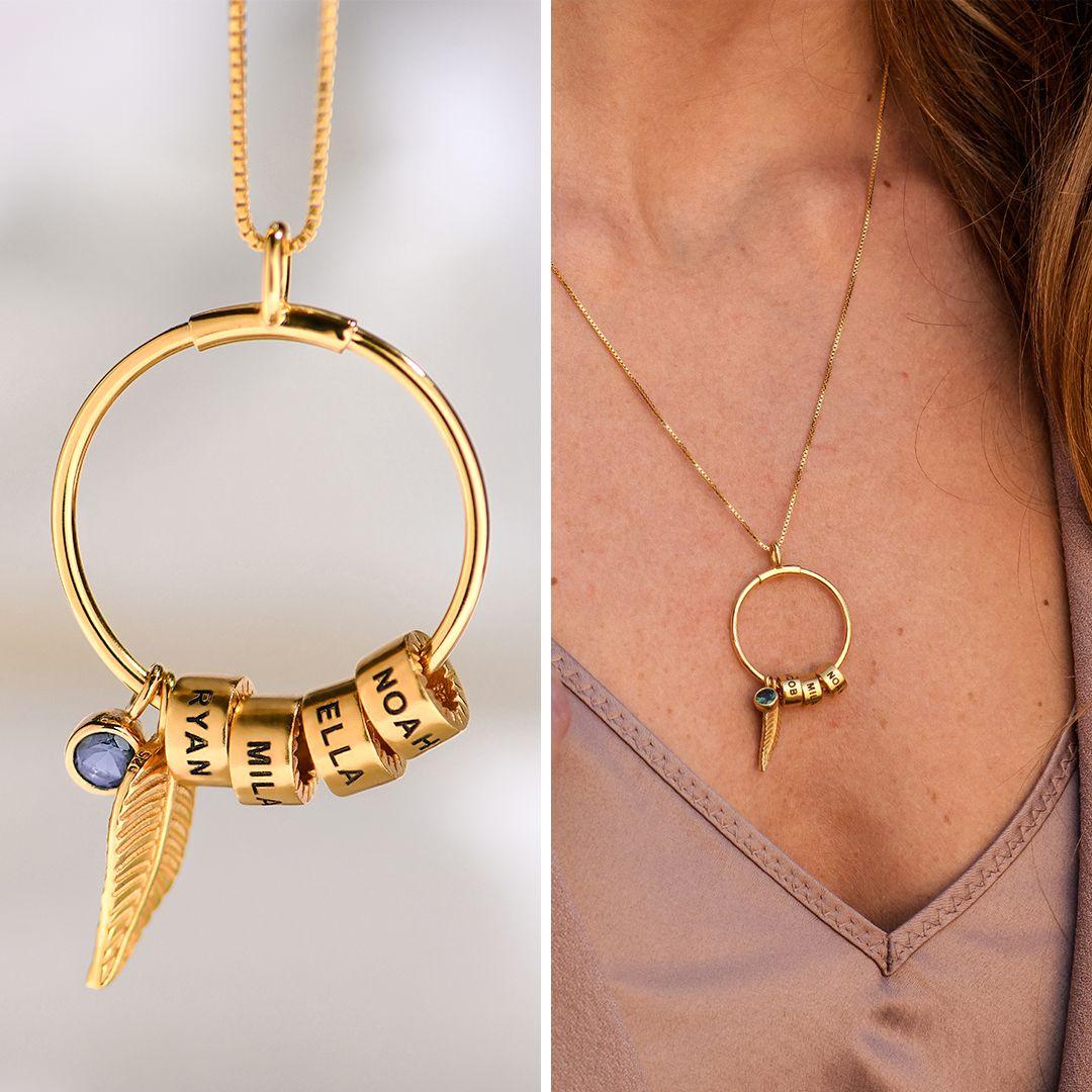 Photo of Kreisanhänger-Kette mit Blatt und personalisierten Beads aus Sterlingsilber