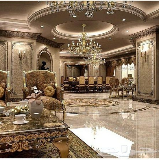 Sparkling royal golden luxury living room home bedroom for Royal living room designs