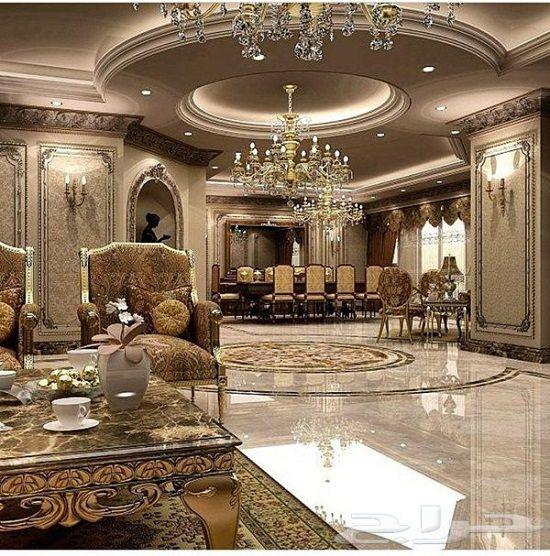 Sparkling Royal Golden Luxury Living Room Mansion Interior