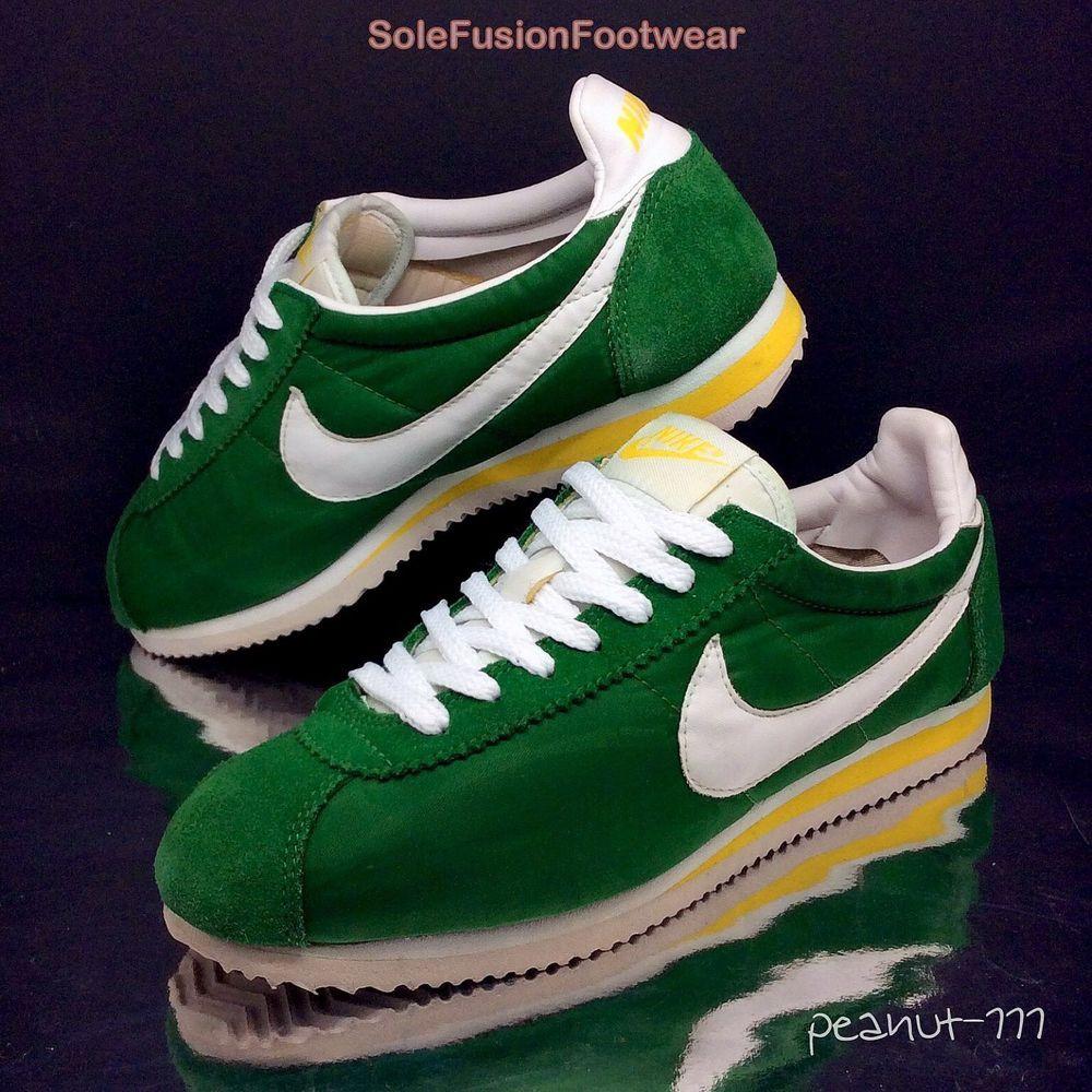 NIke Mens Cortez Green/Yellow Trainers sz 7 70s Retro Running Sneaker US 8  EU